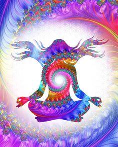 Meditation print rainbow spiral art print by theartofthematrix Meditation Art, Yoga Art, Psychedelic Art, Fractal Art, Fractals, Yoga Kunst, Spiral Art, Sacred Geometry Art, Sacred Art