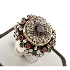 Turkish Ottoman Hurrem Sultan Garnet Sparkle ring