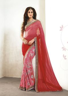 Pink Georgette Printed Saree With Blouse 65794