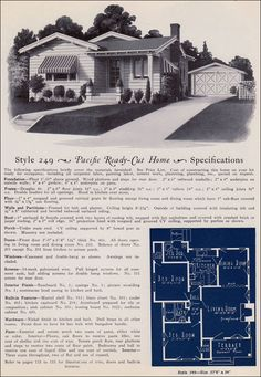 1925 California Bungalow Cottage - Pacific Ready Cut Homes - No. 249 Cute lil house...900 square ft!