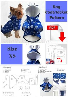 Dog Coat pattern Dog clothes patterns for sewing Small dog clothes pattern Dog J. - Dog Coat pattern Dog clothes patterns for sewing Small dog clothes pattern Dog Jacket Sewing pattern PDF Dog clothes PDF Pattern for XS dog - ? Small Dog Clothes Patterns, Clothing Patterns, Dog Pattern, Jacket Pattern, Pattern Ideas, Dog Coat Pattern Sewing, Small Dog Coats, Coats For Dogs, Large Dogs