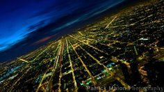 City Lights Street Grid From Above At Night – Chicago Skyline Photography by Patrick Malon