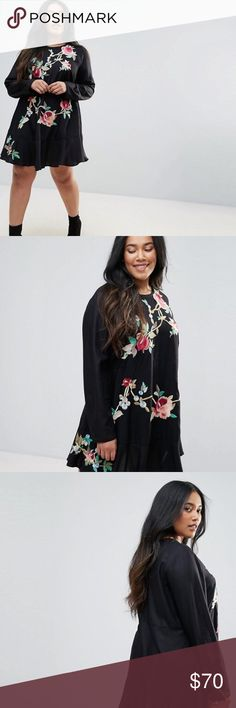ASOS Curve Embroidered Dress Lightweight woven fabric with embroidery. Round neck and a drop waist. Only worn once. ASOS Curve Dresses
