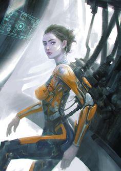 Mechanical Girl, Jack Hsu on ArtStation at… Cyberpunk Girl, Cyberpunk 2077, Character Concept, Character Art, Cyborg Girl, Arte Robot, Robot Girl, Robot Concept Art, Futuristic Art