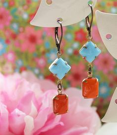 Vintage Turquoise and Tangerine Glass Jewels.