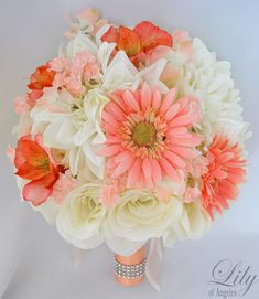 """Wedding Bridal Bouquet Silk Flowers bouquets Decoration 17 pieces Package CORAL PEACH ORANGE """"Lily Of Angeles"""""""