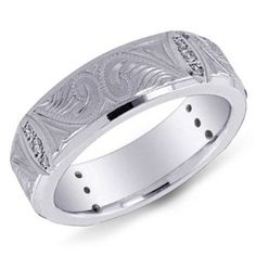 14K White Gold Fancy Design Men's Diamond Band Ring Wedding Ring Finger REVIEW
