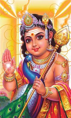 Lord Murugan as a young boy, holding a 'vel' in his hand, and blessing devotees with the other
