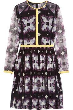 BURBERRY Printed Mesh Mini Dress. #burberry #cloth #dress