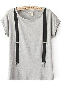 Grey Short Sleeve Strap Loose T-Shirt - Sheinside.com