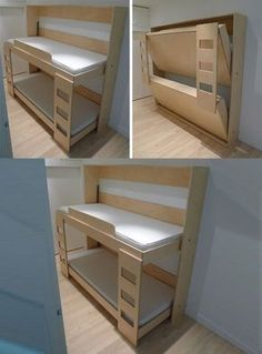 Decorate your room in a new style with murphy bed plans Murphy Bunk Beds, Modern Murphy Beds, Murphy Bed Ikea, Murphy Bed Plans, Kids Bunk Beds, Murphy Etagenbetten, Folding Furniture, Space Saving Furniture, Loft Spaces