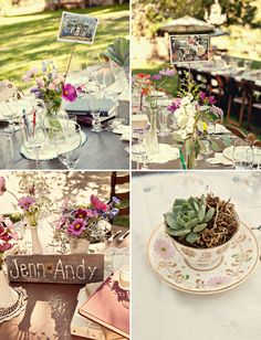 Love the succulent in teacup - rustic bohemian outdoor wedding tablescape decor