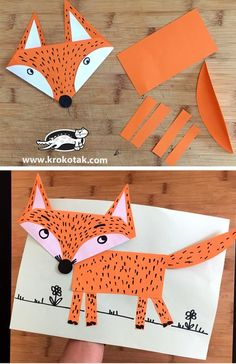 Excellent Absolutely Free Animal Crafts activities Suggestions Document denture dogs make the perfect children write idea. They are really simple reasonably priced and chil Fox Crafts, Animal Crafts For Kids, Winter Crafts For Kids, Paper Crafts For Kids, Preschool Crafts, Paper Crafting, Easy Crafts, Art For Kids, Forest Animal Crafts