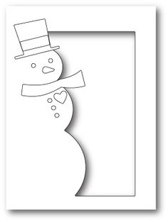 steel craft die from Memory Box featuring a snowman in a rectangular frame. For use on cardstock, felt, and fabric. Christmas Card Crafts, Christmas Drawing, Handmade Christmas, Holiday Cards, Paper Folding Crafts, Paper Crafts, Memory Box Dies, Memories Box, Frantic Stamper