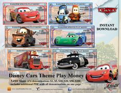 Play Money Disney Cars themed by AmorPrintables on Etsy Disney Cars Party, Car Party, Fake Money Printable, Disney Money, Monopoly Money, Disney Nursery, Baby Mouse, Jungle Party, Chores For Kids