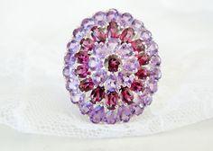Colleen Lopez Sterling Silver 925 BIG 11ct Amethyst Rhodolite Garnet Ring 9 #ColleenLopez #Cocktail #ValentinesDay