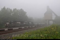 Heavy fog blankets the morning as this empty coal train blast south toward Williamson, WV. This is one of the few coal towers left on NS in West Virginia. This tower might be a short time due to a project to build a new intermodel yard in the area with the Heartland Corridor project.