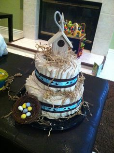 Bird Theme Baby Shower Diaper Cake