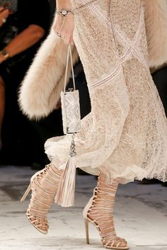 Roberto Cavalli | details | white embellished dress | multi-strap shoes | evening bag with embroidery and fringe | high fashion