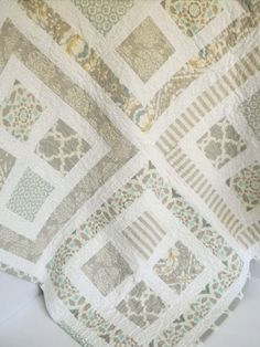 Neutral Baby Quilt Grey and White by SWDesignsBaby on Etsy Quilt Baby, Nine Patch, Quilt Festival, Patch Quilt, Quilt Blocks, Quilting Projects, Quilting Designs, Quilt Design, Neutral Baby Quilt