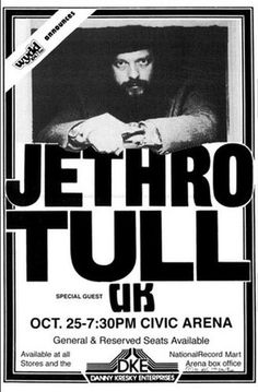 Jethro Tull With Special Guest UK Concert Poster Print VERY LIMITED RARE