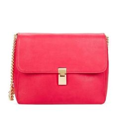 """🎉Host Pick🎉JustFab Smith JustFab Smith in fuchsia color. Clean, simple dressing is what we live for, which is why a bag like Smith is always by our side. Features a thin chain strap and foldover closure with hardware detail. Material: Faux Leather. Size: 11L x 8.5H x 4D. Hardware color: Gold. Shoulder drop measurement : 14.5"""". Pockets: 1 Interior Pocket, 1 Interior Zip. Closure: Snap & Zip closure. Imported. New with tags, unused. HOST PICK - 4/14/16. JustFab Bags"""