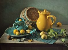 autumn and turquoise by Alla Lapteva Still Life Photos, Still Life Photography, Traditional Art, Tea Pots, World's Biggest, Flower Paintings, Turquoise, Watercolours, Decoupage