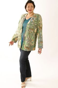 8ef8084897f88 Plus Size Designer Jacket Coco Rainforest Beaded Baby Cheetah Gold Green  Teal SHOP NOW  Unique