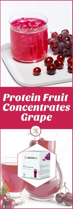 BariatricPal 15g Protein Fruit Concentrates – GrapeEnter BariatricPal Fruit Drink Concentrates. They have 60 to 70 calories and no more than a measly 2 grams of sugar per serving. Plus, they have 15 grams of protein, so you can use it as a snack anytime to reduce hunger for hours. BariatricPal Grape Drink Concentrate has the familiar taste of ripe grapes bursting with flavor, but without the sugar. Just mix with water and enjoy. 7 servings per box.70 calories15 grams proteinFat fre