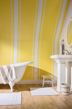 Bright colors really make a space look bigger. And I love the way the angled area is considered a wall instead of ceiling here! Diy Wall Painting, Yellow Painting, Frog Tape Wall, Wall Design, House Design, Kids Play Spaces, Diy Garden Bed, Minecraft Bedroom, Striped Walls