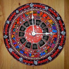 Red Razzle, Dazzle, & Swirl Mosaic Clock