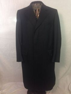 Mens 100% Pure Wool Trench Coat Drk Gray Sz M Exec Cond Sexy NWOT!!!!