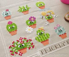 Freja the Cactus Cross Stitch Pattern PDF Prickly but Cute Freja the Cactus Kreuzstichmuster PDF Stachelig aber süß Needlepoint Stitches, Counted Cross Stitch Patterns, Cross Stitch Embroidery, Silk Ribbon Embroidery, Embroidery Kits, Baby Cactus, Cactus Cactus, Cactus Cross Stitch, Cute Stitch