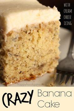 Crazy Banana Cake with Cream Cheese Icing - the baking temperature and the way you cool this cake are just plain crazy, but they're the secret to how crazy-moist and delicious this cake is.  It's seriously the best banana cake ever.  I've been making it for years, and it's perfect every single time. -  Happy Hooligans