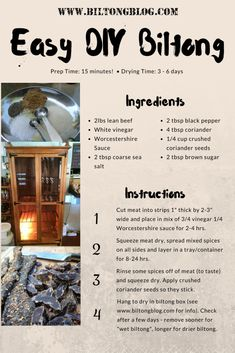 Easy recipe and directions for making healthy organic delicious biltong at home. How to make authentic South African tasting biltong and dry wors. South African Dishes, West African Food, South African Recipes, Jerky Recipes, Beef Recipes, Yummy Recipes, Cooking Recipes, Yummy Food, Kos