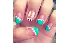 Bunny Head with Slanted Scalloped French Manicure 18 Easter Manicures to Complete Your Holiday Look     Beauty High