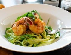 Spicy Shrimp with Zucchini Noodles (great for all phases) Ingredients: 8 medium zucchinis 1 lb shrimp (16 pieces), peeled and deveined, tails on 1 tablespoon olive oil 1 shallot, finely sliced 1 1/2 teaspoons chile sauce, like a sriracha sauce Freshly ground black pepper cilantro, chopped basil,