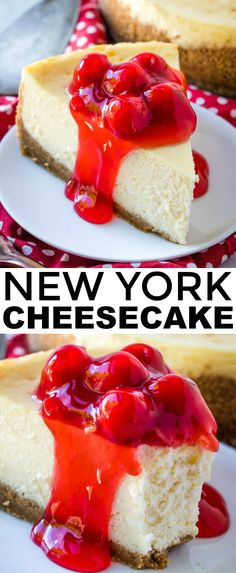 Creamy, smooth, thick and delicious this New York Cheesecake is a perfect addition to your dessert table with minimal ingredients its completely addicting. via cheesecake recipe New York Cheesecake - The Perfect Cheesecake Recipe Perfect Cheesecake Recipe, Coconut Cheesecake, Baked Cheesecake Recipe, Raspberry Cheesecake, Homemade Cheesecake, Newyork Cheesecake, New York Style Cheesecake, Classic Cheesecake, Mini Cheesecakes