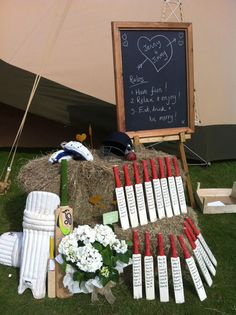 Table plan | cricket bats | hay bales | cricket  Styling ww.littleweddinghelper.co.uk