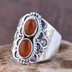 EXCLUSIVE 925 SOLID STERLING SILVER RED ONYX RING JEWELRY 5.86g DJR11086 SZ-8 #Handmade #Ring