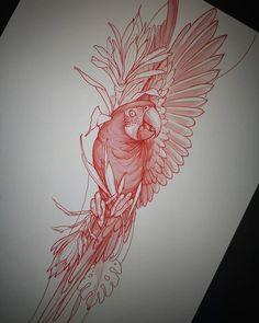 Tattoo Outline, Tatoo Art, Tattoo Sketches, Tattoo Drawings, Parrot Tattoo, Desenho Tattoo, Tattoo Stencils, Neo Traditional Tattoo, Cover Tattoo