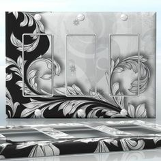 DIY Do It Yourself Home Decor - Easy to apply wall plate wraps | Black & White Harmony Black & white background with vines wallplate skin sticker for 3 Gang Decora LightSwitch | On SALE now only $5.95