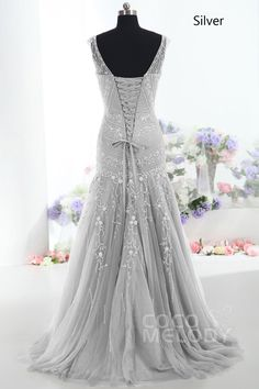 Modest Trumpet-Mermaid V-Neck Tulle Brown Mother Of The Bride Dress COLT1300F