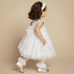 f68cbb28a Couche Tot - Baby Girls White Lace Flower Dress with Headband | Baby Girl  Christening,