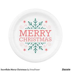 Shop Snowflake Merry Christmas Paper Plate created by IrinaFraser. Holiday Cards, Christmas Cards, Merry Christmas, Christmas Paper Plates, Cake Servings, Party Tableware, White Elephant Gifts, Paper Napkins, Biodegradable Products
