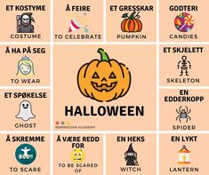 Halloween Vocabulary, Norwegian Words, Norway Language, Hobbies For Kids, Proverbs Quotes, Learning, Foreign Language, Languages, Motivation