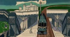 Limited edition giclee print Braintree Station by Edward Bawden from an edition of 950 numbered prints. One amongst a series of very large and successful prints made in the with particularly bold and striking use of colour. Train Illustration, Royal College Of Art, Japanese Prints, Train Tracks, Limited Edition Prints, Urban Art, Printmaking, Fine Art, British Artists