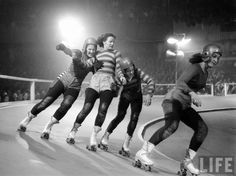 """Would love to skate on a banked track, at least one. Note, I wrote """"skate"""" not bout...not yet (vintage roller derby)"""