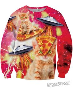 All Over Print Bacon Pizza Space Cat Sweatshirt - RageOn! - The World's Largest All-Over-Print Online Store