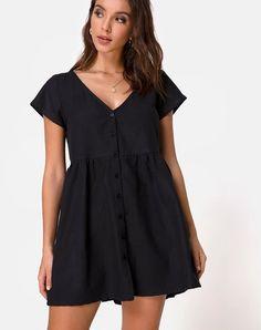 Black Smock Dress With Buttons - Motel Rocks Babydoll Dress Outfit, Dress Outfits, Shirt Dress, Alternative Mode, Alternative Fashion, Latest Fashion Dresses, Fashion Outfits, Dress Fashion, Dresses